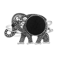 Black Boho Tribal Elephant Bangle Bracelet