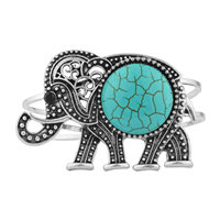 Turquoise Boho Tribal Elephant Bangle Bracelet