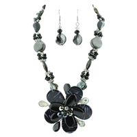 Chic Crystal Beaded Glass Flower Black Mix Necklace Set