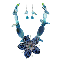 Chic Crystal Beaded Glass Flower Blue Mix Necklace Set