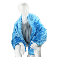 Stylish Fashion Forward Trendy Soft Fuzzy Warm Ocean Blue Blanket Shawl