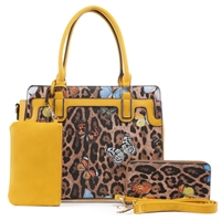 Fashion Forward Wild Leopard & Butterfly Patent Leather & Mustard Faux Leather Satchel Shoulder Handbag Set