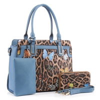 Fashion Forward Wild Leopard & Butterfly Patent Leather & Turquoise Faux Leather Satchel Shoulder Handbag Set