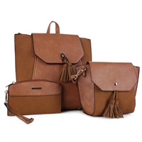 THE TRIPLETS BACKPACK HANDBAG SET | CARAMEL