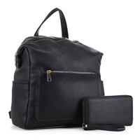 Stylish Carry-On Black Faux Leather Wristlet Satchel Backpack Set