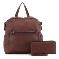 Stylish Carry-On Brown Faux Leather Wristlet Satchel Backpack Set