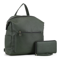Stylish Carry-On Dark Green Faux Leather Wristlet Satchel Backpack Set