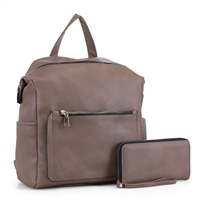 Stylish Carry-On Taupe Faux Leather Wristlet Satchel Backpack Set