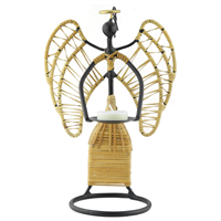 Wrought Iron Straw String Angel Candle Holder