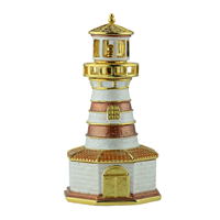 Crystal Two-Toned Brown & White Lighthouse Gold Accents Trinket Box