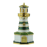 Crystal Two-Toned Green & White Lighthouse Gold Accents Trinket Box