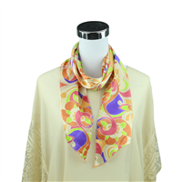 Colorful Floral Pattern Print Silk Stole