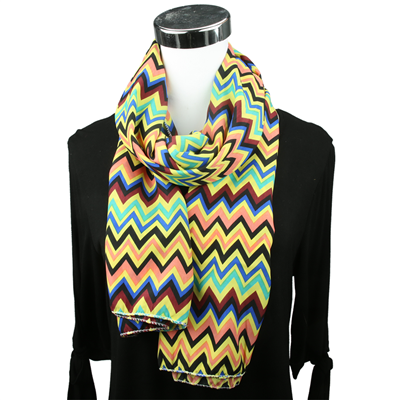 Yellow Mix Chevron Print Scarf