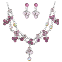 Gorgeous & Sparkling Pink & Iridescent Crystal Silver Toned Stud Dangle Necklace Set