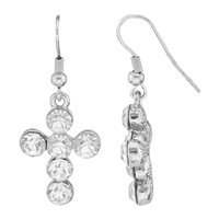 Stylish Spiritual Faith Bubbly Sparkling Clear Crystal Silver Cross Fish Hook Dangle Earrings