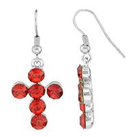 Stylish Spiritual Faith Bubbly Sparkling Red Crystal Silver Cross Fish Hook Dangle Earrings