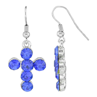 Stylish Spiritual Faith Bubbly Sparkling Blue Crystal Silver Cross Fish Hook Dangle Earrings