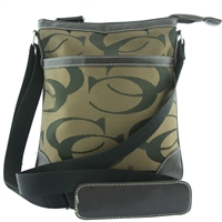 Printed CC Pattern on Two-Tone Brown Crossbody Shoulder Bag