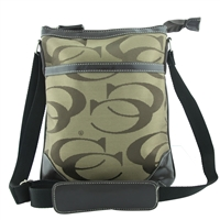 Printed CC Pattern on Two-Tone Light Brown Crossbody Shoulder Bag