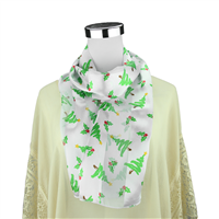 Jolly & Festive Scribbled Christmas Tree & Holly Leaves Print Pattern White Silk Scarf