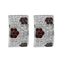 Dark Red & Clear Crystals Clip-On Earrings