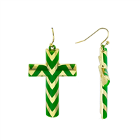 CHEVRON CROSS EARRINGS | GREEN & GOLD