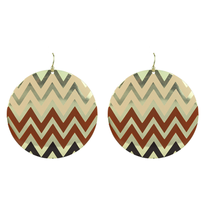 CHEVRON POST EARRINGS | BROWN MIX