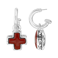 Stylish Spiritual Faith Small Cross Charm Red & Silver Open Hoop Stud Dangle Earrings