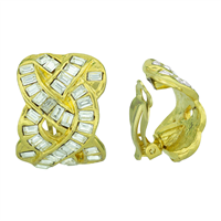Gorgeous Sparkling Wavy Squared Crystal Gold Clip-On Earrings