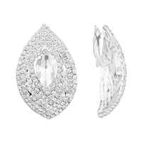 Gorgeous & Stylish Diamond Shape Clear Crystal Stone Clip-On Earrings