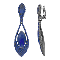 Stylish Navy Crystal Stone Dangle Clip-On Earrings