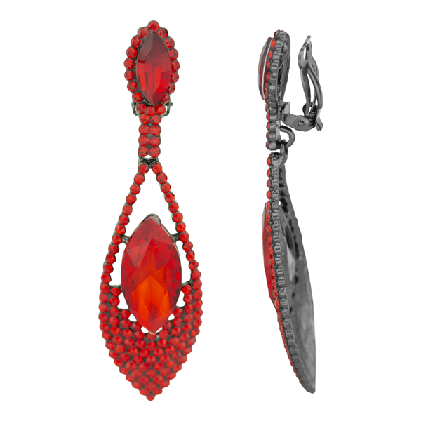 Stylish Red Crystal Stone Dangle Clip-On Earrings