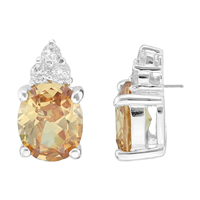 Gorgeous Sparkling Topaz & Clear Cubic Zirconia Crystals Sterling Silver Princess Stud Earrings