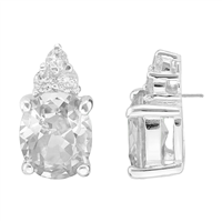 Gorgeous Sparkling Clear Cubic Zirconia Crystals Sterling Silver Princess Stud Earrings