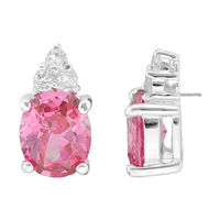 Gorgeous Sparkling Rose & Clear Cubic Zirconia Crystals Sterling Silver Princess Stud Earrings