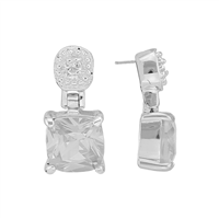 Gorgeous Sparkling Silver & Clear Cubic Zirconia Crystals Sterling Silver Everlasting Stud Earrings