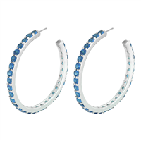 Gorgeous Sparkling Sapphire Cubic Zirconia Crystal Sterling Silver Open Hoop Royal Stud Earrings