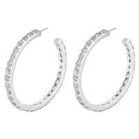 Gorgeous Sparkling Clear Cubic Zirconia Crystal Sterling Silver Open Hoop Royal Stud Earrings