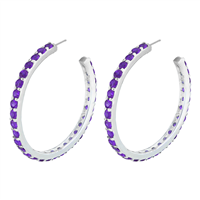 Gorgeous Sparkling Amethyst Cubic Zirconia Crystal Sterling Silver Open Hoop Royal Stud Earrings