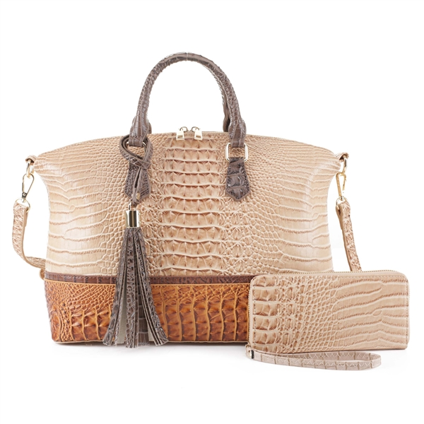 Two-Toned Beige & Tan Faux Alligator Patent Leather Duffle Satchel Set