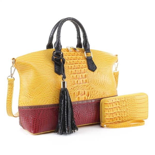 Two-Toned Yellow & Wine Faux Alligator Patent Leather Duffle Satchel Set