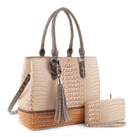 Two-Toned Box-Like Beige & Tan Faux Alligator Patent Leather Satchel Set