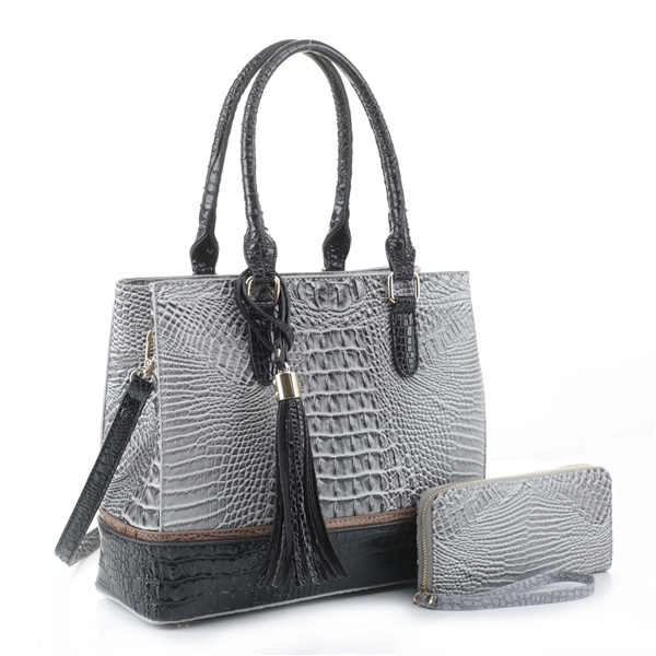 Two-Toned Box-Like Gray & Black Faux Alligator Patent Leather Satchel Set