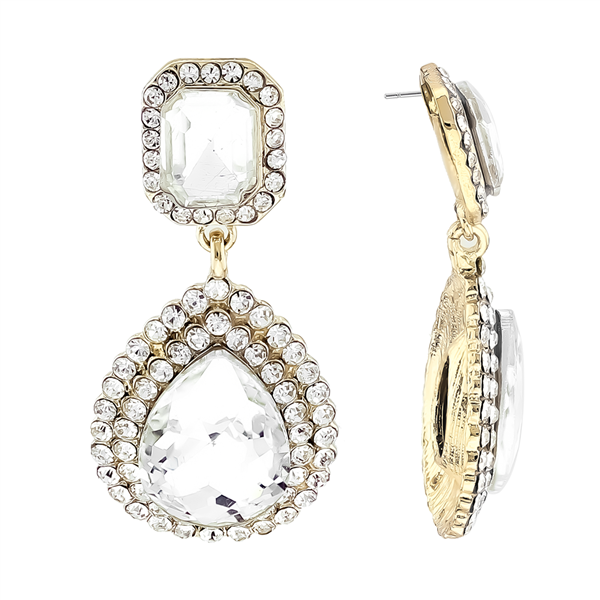 Stunning Sparkling Clear Crystal Clear Stone Gold-Toned Stud Earrings