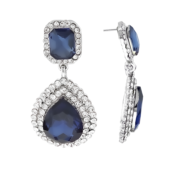 Stunning Sparkling Clear Crystal Navy Blue Stone Silver-Toned Stud Earrings