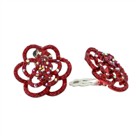 Blossoming Cute Sparkling Red & Iridescent Crystals Flower Outline Clip On Earrings