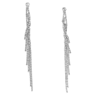 CRYSTAL TWISTED DANGLE STUD EARRINGS