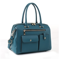 Stylish Carry-All Teal Faux Leather Weekender Duffle Satchel Handbag