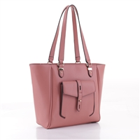 Stylish & Classy Mauve Pink Faux Leather Essential Tote Satchel Handbag