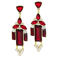 Sparkling Clear & Red Crystal Gold Stud Dangle Earrings
